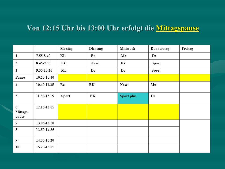 Von 12:15 Uhr bis 13:00 Uhr erfolgt die Mittagspause MontagDienstagMittwochDonnerstagFreitag 17.55-8.40KL En Ma En 28.45-9.30 Ek Nawi Ek Sport 39.35-1