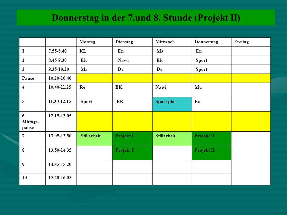Donnerstag in der 7.und 8. Stunde (Projekt II) MontagDienstagMittwochDonnerstagFreitag 17.55-8.40KL En Ma En 28.45-9.30 Ek Nawi Ek Sport 39.35-10.20 M