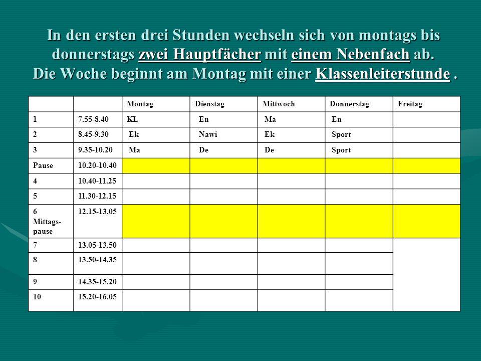 In den ersten drei Stunden wechseln sich von montags bis donnerstags zwei Hauptfächer mit einem Nebenfach ab. Die Woche beginnt am Montag mit einer Kl