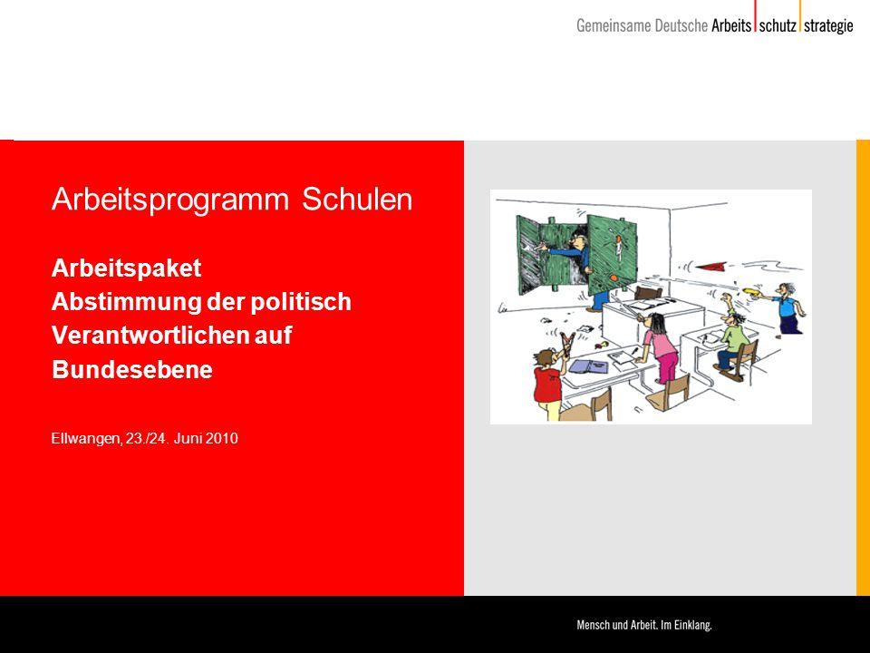 Arbeitsprogramm Schulen Arbeitspaket Abstimmung der politisch Verantwortlichen auf Bundesebene Ellwangen, 23./24. Juni 2010