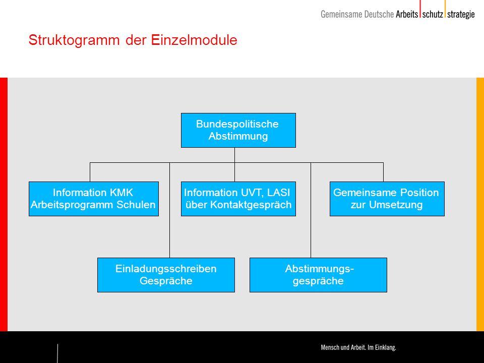 Struktogramm der Einzelmodule Bundespolitische Abstimmung Information UVT, LASI über Kontaktgespräch Abstimmungs- gespräche Information KMK Arbeitspro