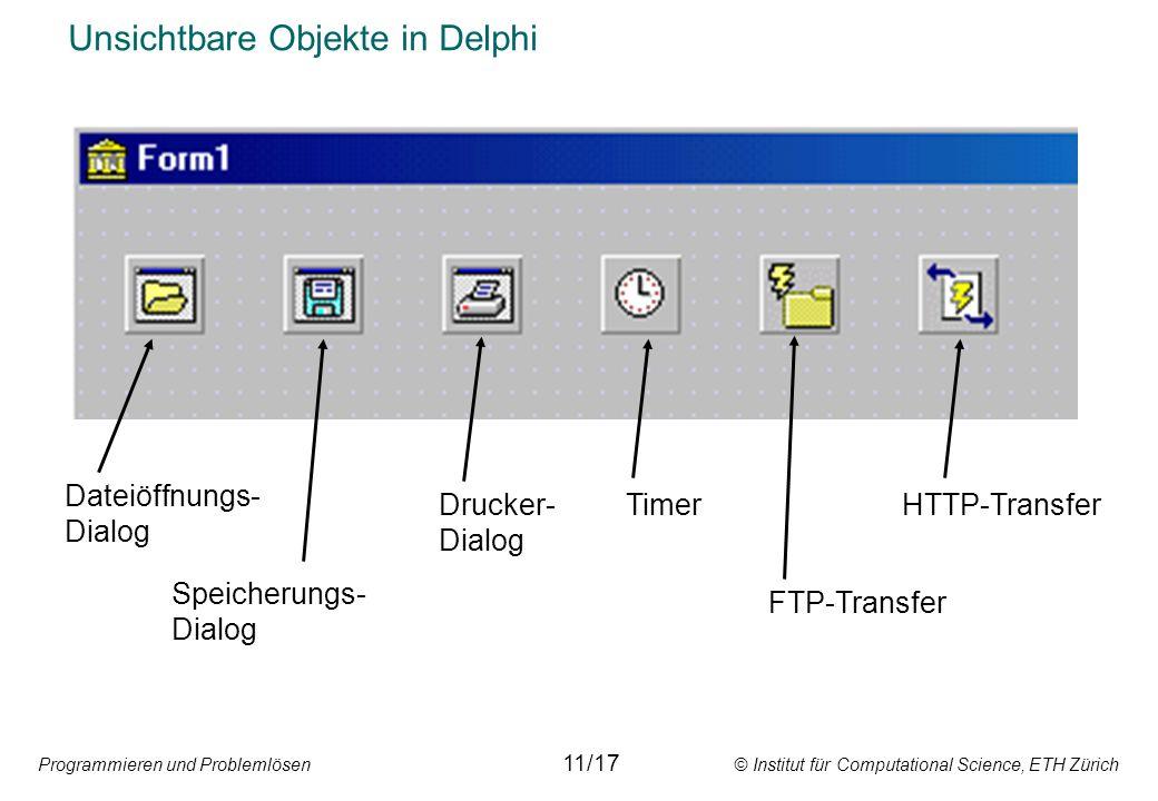 Programmieren und Problemlösen © Institut für Computational Science, ETH Zürich Unsichtbare Objekte in Delphi Dateiöffnungs- Dialog HTTP-Transfer FTP-Transfer Timer Speicherungs- Dialog Drucker- Dialog 11/17