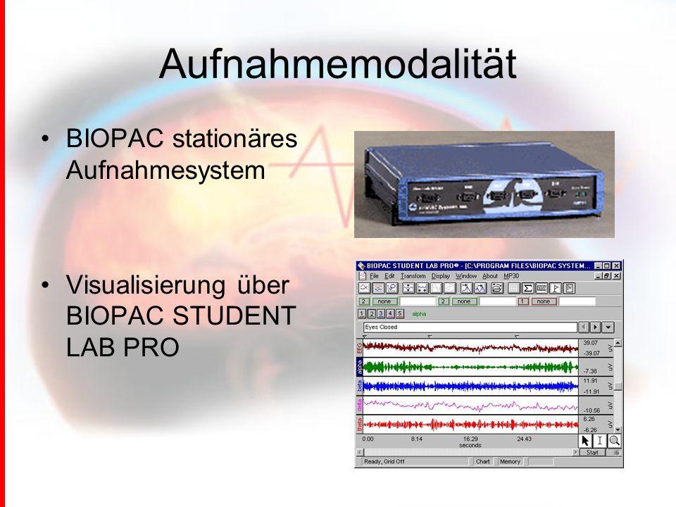 Aufnahmemodalität BIOPAC stationäres Aufnahmesystem Visualisierung über BIOPAC STUDENT LAB PRO