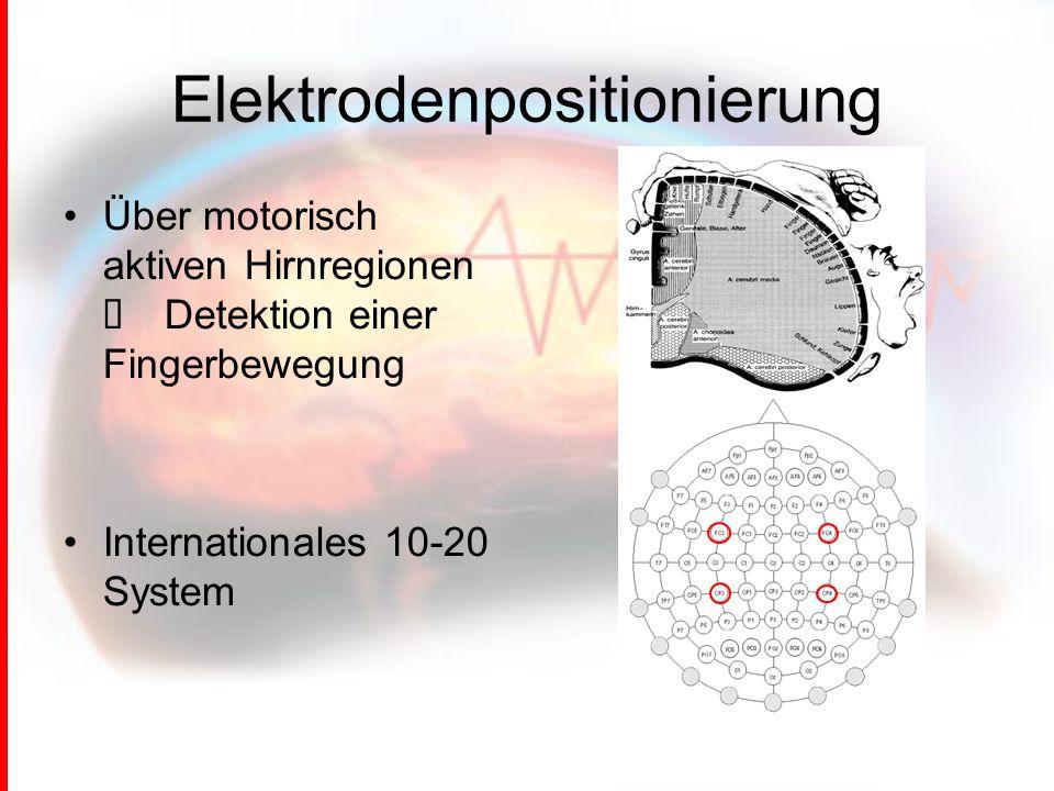 Elektrodenpositionierung Über motorisch aktiven Hirnregionen → Detektion einer Fingerbewegung Internationales 10-20 System