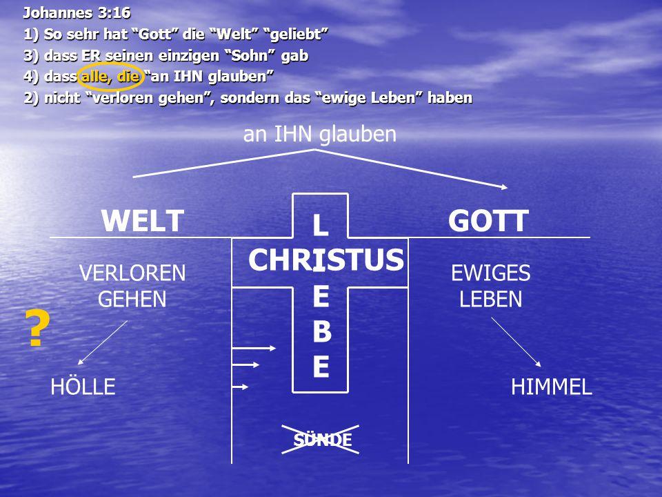 """WELTGOTT LIEBELIEBE CHRISTUS an IHN glauben VERLOREN GEHEN EWIGES LEBEN HÖLLEHIMMEL SÜNDE Johannes 3:16 1) So sehr hat """"Gott"""" die """"Welt"""" """"geliebt"""" 3)"""
