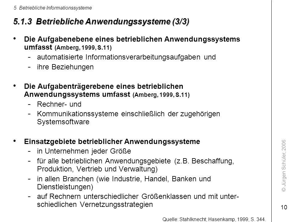 © Jürgen Schüler, 2006 5 Betriebliche Informationssysteme 10 5.1.3 Betriebliche Anwendungssysteme (3/3) Die Aufgabenebene eines betrieblichen Anwendun