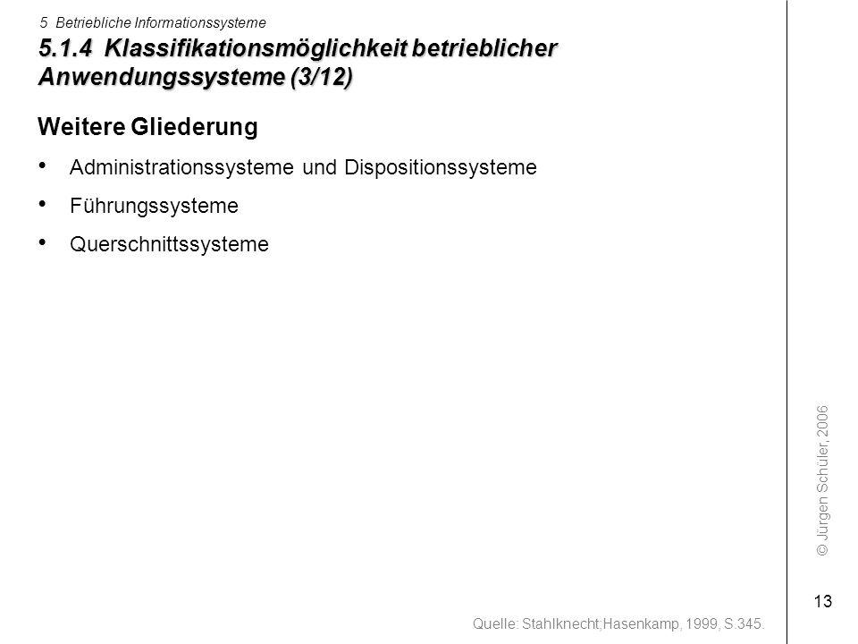 © Jürgen Schüler, 2006 5 Betriebliche Informationssysteme 13 5.1.4 Klassifikationsmöglichkeit betrieblicher Anwendungssysteme (3/12) Weitere Gliederun