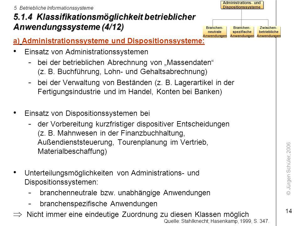© Jürgen Schüler, 2006 5 Betriebliche Informationssysteme 14 5.1.4 Klassifikationsmöglichkeit betrieblicher Anwendungssysteme (4/12) a) Administration