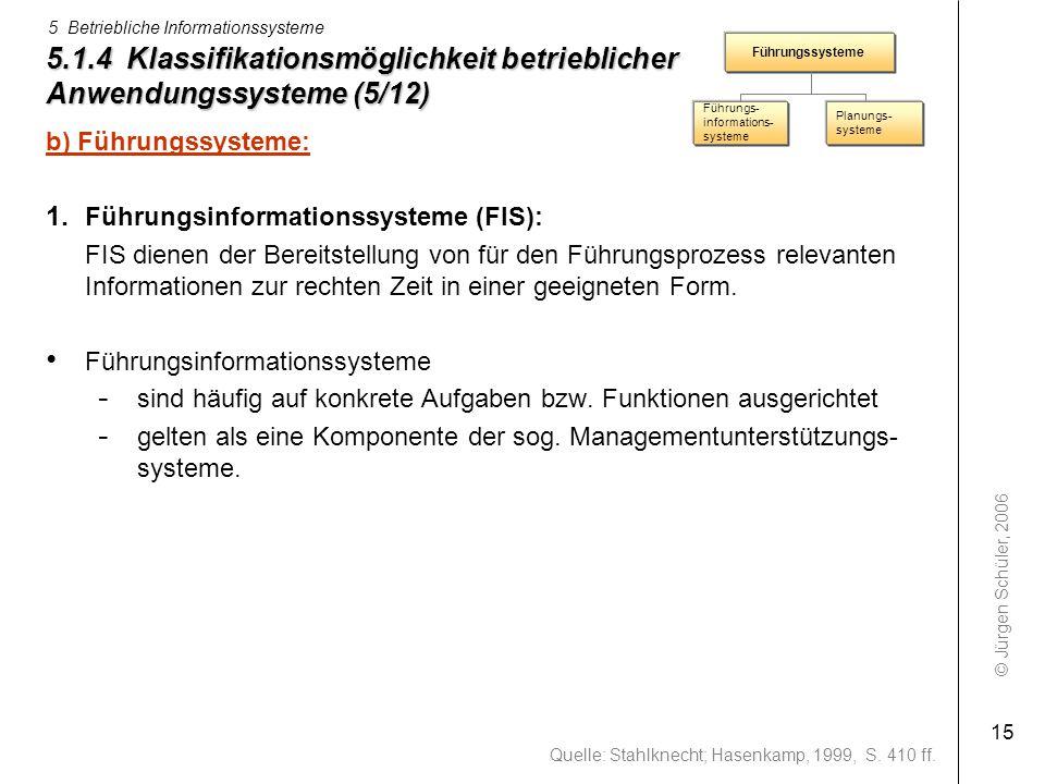 © Jürgen Schüler, 2006 5 Betriebliche Informationssysteme 15 5.1.4 Klassifikationsmöglichkeit betrieblicher Anwendungssysteme (5/12) b) Führungssystem