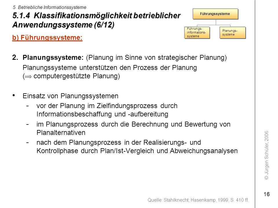 © Jürgen Schüler, 2006 5 Betriebliche Informationssysteme 16 5.1.4 Klassifikationsmöglichkeit betrieblicher Anwendungssysteme (6/12) b) Führungssystem