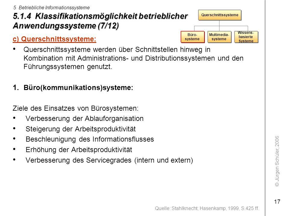 © Jürgen Schüler, 2006 5 Betriebliche Informationssysteme 17 5.1.4 Klassifikationsmöglichkeit betrieblicher Anwendungssysteme (7/12) c) Querschnittssy