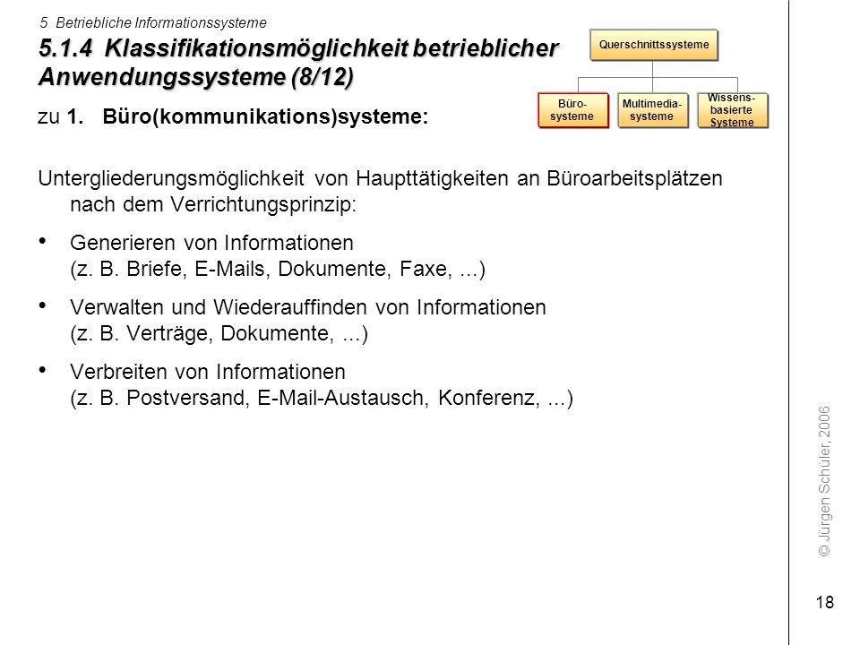 © Jürgen Schüler, 2006 5 Betriebliche Informationssysteme 18 5.1.4 Klassifikationsmöglichkeit betrieblicher Anwendungssysteme (8/12) zu 1. Büro(kommun