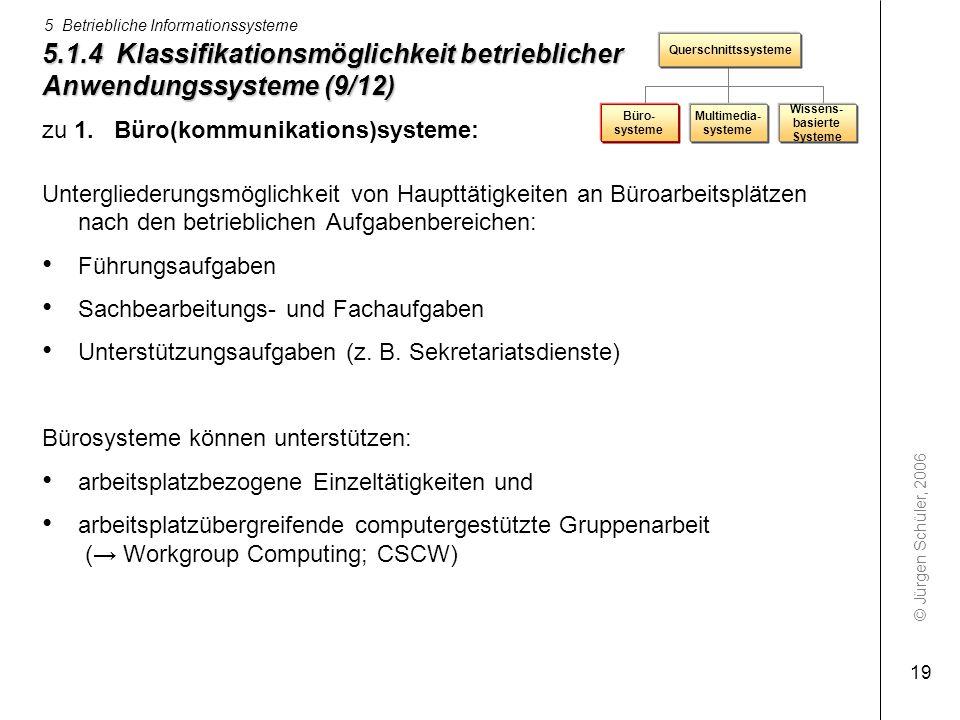 © Jürgen Schüler, 2006 5 Betriebliche Informationssysteme 19 5.1.4 Klassifikationsmöglichkeit betrieblicher Anwendungssysteme (9/12) zu 1. Büro(kommun
