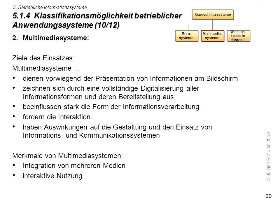 © Jürgen Schüler, 2006 5 Betriebliche Informationssysteme 20 5.1.4 Klassifikationsmöglichkeit betrieblicher Anwendungssysteme (10/12) 2.Multimediasyst