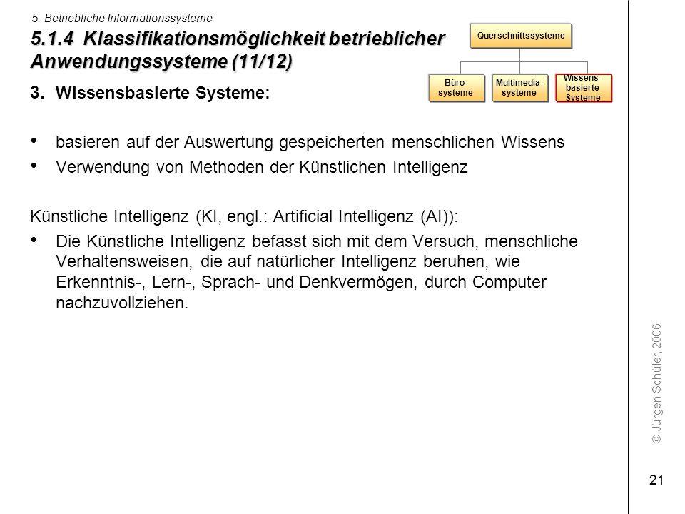 © Jürgen Schüler, 2006 5 Betriebliche Informationssysteme 21 5.1.4 Klassifikationsmöglichkeit betrieblicher Anwendungssysteme (11/12) 3. Wissensbasier