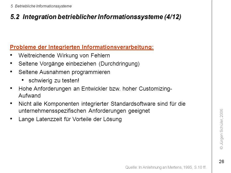 © Jürgen Schüler, 2006 5 Betriebliche Informationssysteme 26 5.2 Integration betrieblicher Informationssysteme (4/12) Probleme der Integrierten Inform