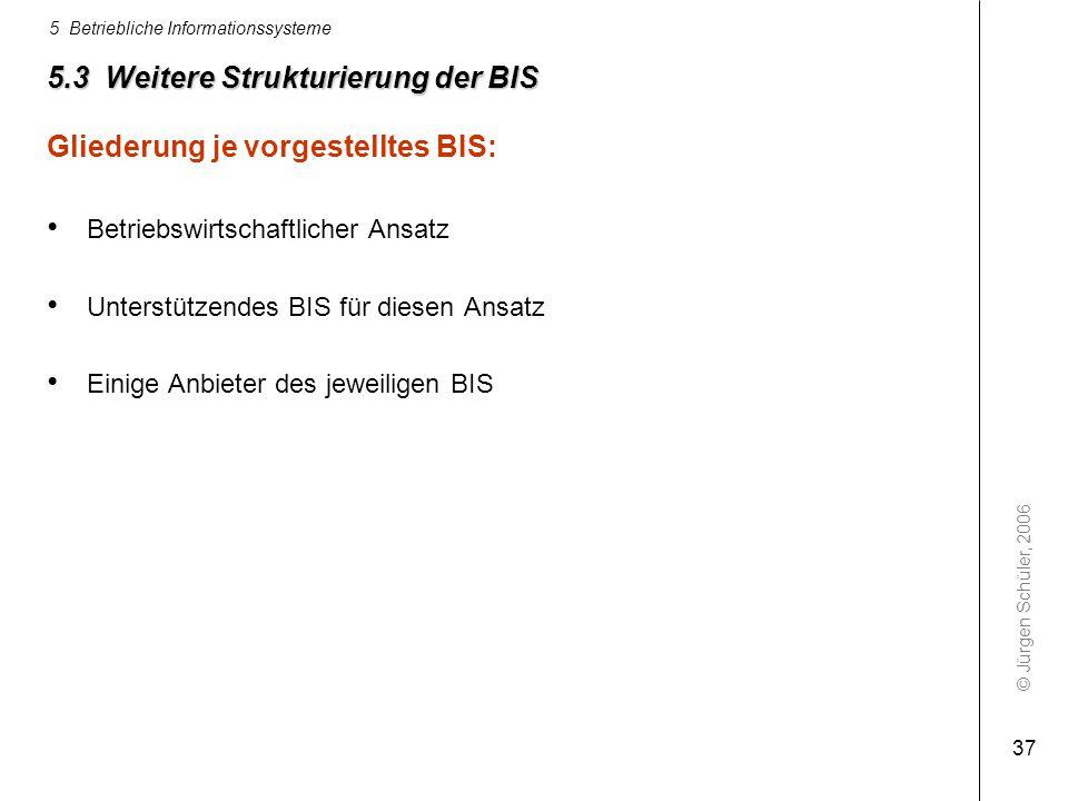 © Jürgen Schüler, 2006 5 Betriebliche Informationssysteme 37 5.3 Weitere Strukturierung der BIS Gliederung je vorgestelltes BIS: Betriebswirtschaftlic