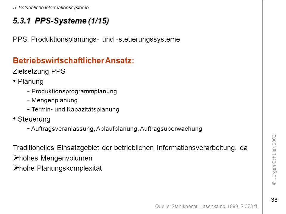 © Jürgen Schüler, 2006 5 Betriebliche Informationssysteme 38 PPS: Produktionsplanungs- und -steuerungssysteme Betriebswirtschaftlicher Ansatz: Zielset