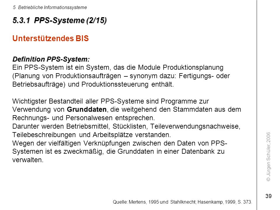 © Jürgen Schüler, 2006 5 Betriebliche Informationssysteme 39 Quelle: Mertens, 1995 und Stahlknecht; Hasenkamp, 1999, S. 373. 5.3.1 PPS-Systeme (2/15)
