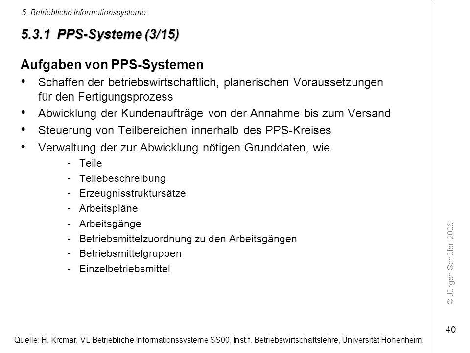 © Jürgen Schüler, 2006 5 Betriebliche Informationssysteme 40 5.3.1 PPS-Systeme (3/15) Aufgaben von PPS-Systemen Schaffen der betriebswirtschaftlich, p
