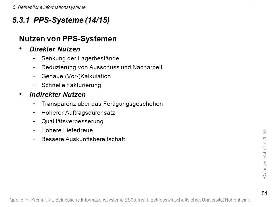 © Jürgen Schüler, 2006 5 Betriebliche Informationssysteme 51 Nutzen von PPS-Systemen Direkter Nutzen - Senkung der Lagerbestände - Reduzierung von Aus