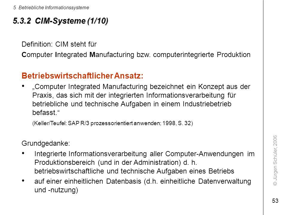 © Jürgen Schüler, 2006 5 Betriebliche Informationssysteme 53 5.3.2 CIM-Systeme (1/10) Definition: CIM steht für Computer Integrated Manufacturing bzw.