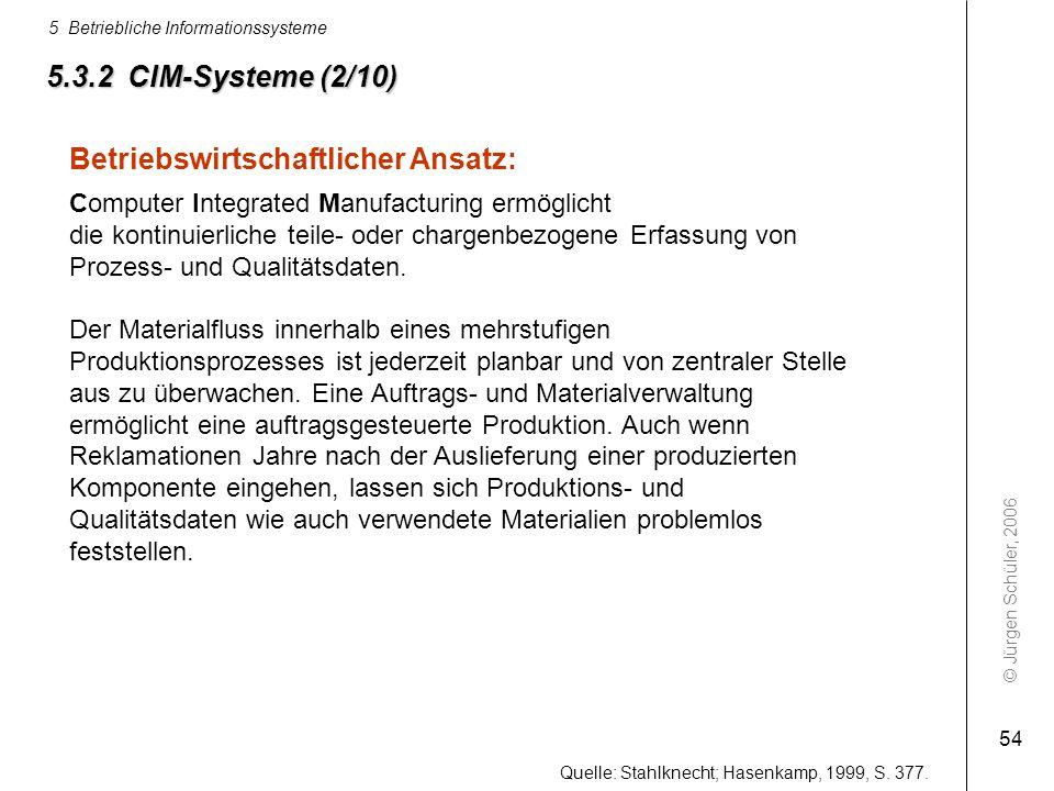 © Jürgen Schüler, 2006 5 Betriebliche Informationssysteme 54 5.3.2 CIM-Systeme (2/10) Betriebswirtschaftlicher Ansatz: Computer Integrated Manufacturi