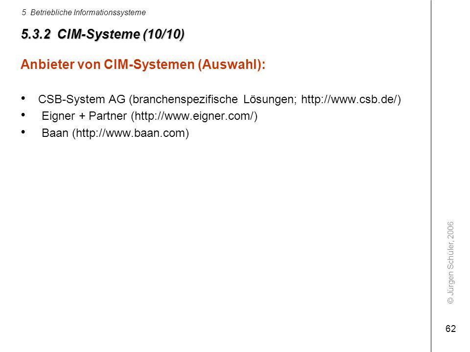 © Jürgen Schüler, 2006 5 Betriebliche Informationssysteme 62 5.3.2 CIM-Systeme (10/10) Anbieter von CIM-Systemen (Auswahl): CSB-System AG (branchenspe