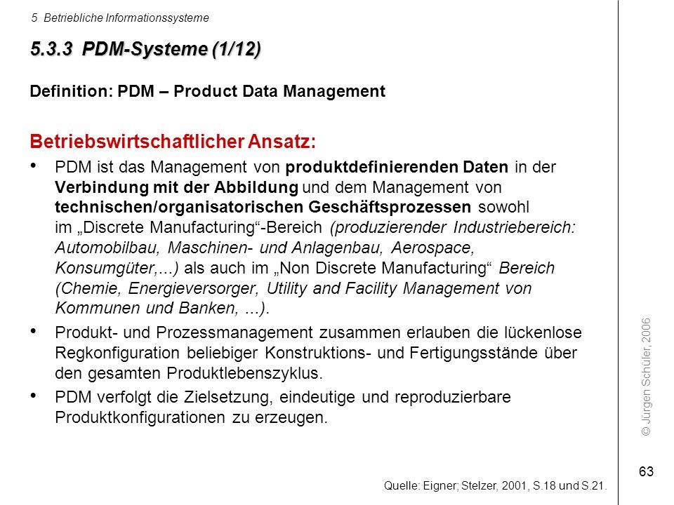 © Jürgen Schüler, 2006 5 Betriebliche Informationssysteme 63 5.3.3 PDM-Systeme (1/12) Definition: PDM – Product Data Management Betriebswirtschaftlich