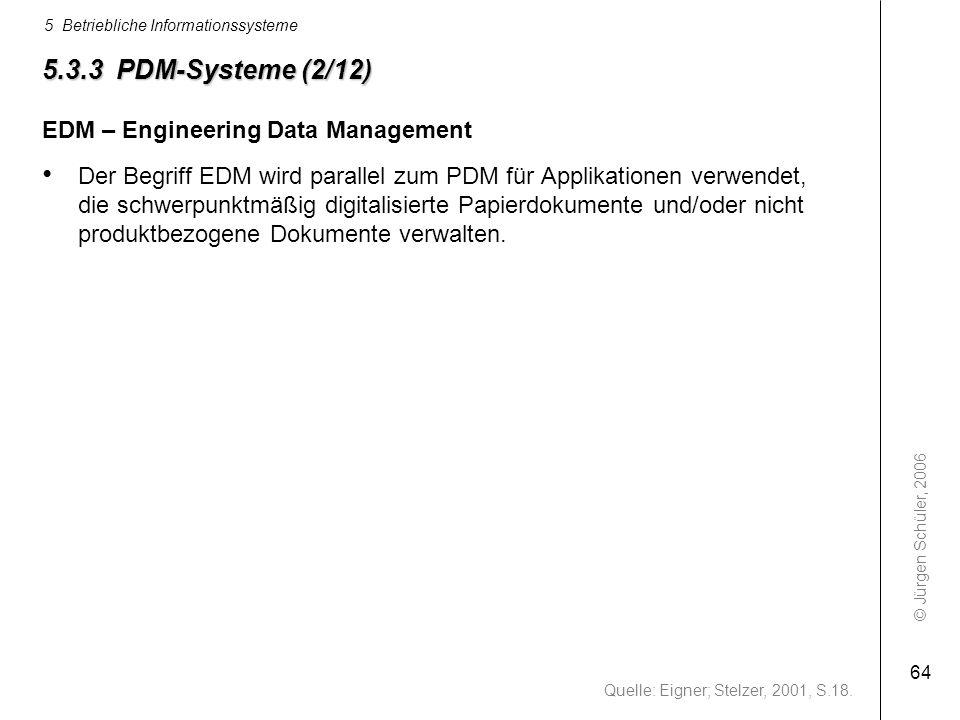 © Jürgen Schüler, 2006 5 Betriebliche Informationssysteme 64 5.3.3 PDM-Systeme (2/12) EDM – Engineering Data Management Der Begriff EDM wird parallel