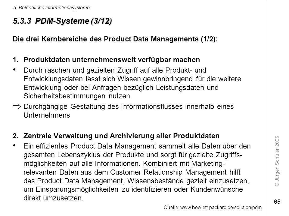 © Jürgen Schüler, 2006 5 Betriebliche Informationssysteme 65 5.3.3 PDM-Systeme (3/12) Die drei Kernbereiche des Product Data Managements (1/2): 1.Prod
