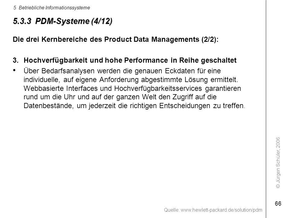 © Jürgen Schüler, 2006 5 Betriebliche Informationssysteme 66 5.3.3 PDM-Systeme (4/12) Die drei Kernbereiche des Product Data Managements (2/2): 3.Hoch