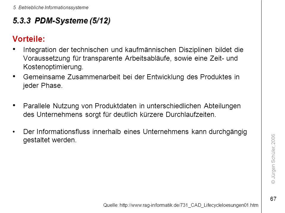© Jürgen Schüler, 2006 5 Betriebliche Informationssysteme 67 5.3.3 PDM-Systeme (5/12) Vorteile: Integration der technischen und kaufmännischen Diszipl