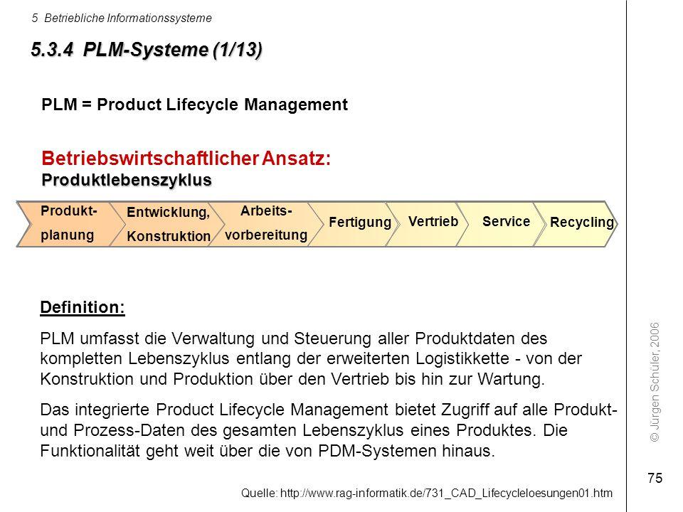 © Jürgen Schüler, 2006 5 Betriebliche Informationssysteme 75 5.3.4 PLM-Systeme (1/13) Definition: PLM umfasst die Verwaltung und Steuerung aller Produ