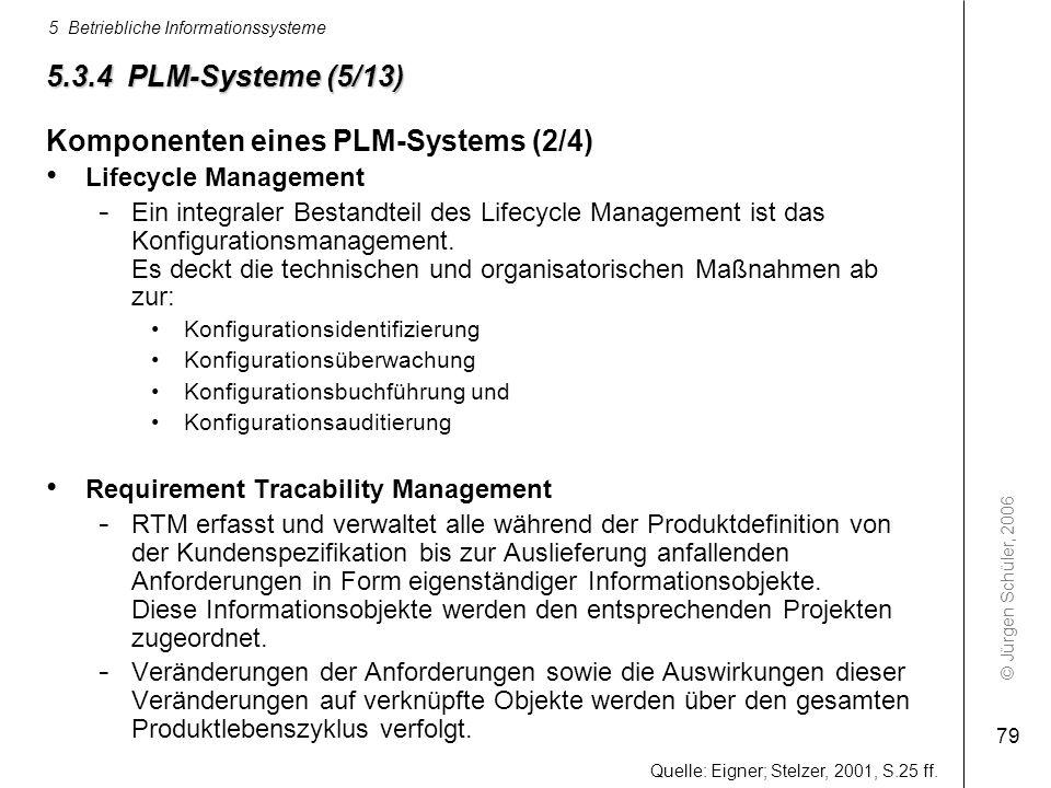 © Jürgen Schüler, 2006 5 Betriebliche Informationssysteme 79 5.3.4 PLM-Systeme (5/13) Komponenten eines PLM-Systems (2/4) Lifecycle Management - Ein i