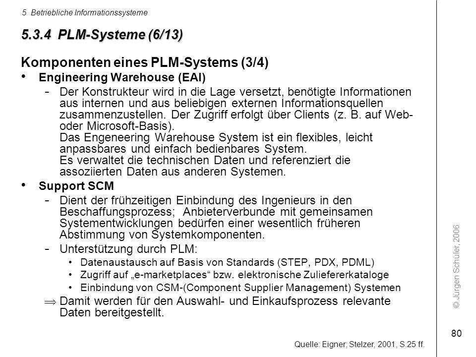 © Jürgen Schüler, 2006 5 Betriebliche Informationssysteme 80 5.3.4 PLM-Systeme (6/13) Komponenten eines PLM-Systems (3/4) Engineering Warehouse (EAI)