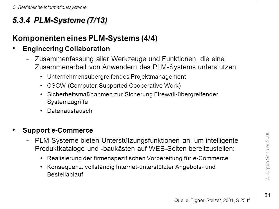 © Jürgen Schüler, 2006 5 Betriebliche Informationssysteme 81 Quelle: Eigner; Stelzer, 2001, S.25 ff. 5.3.4 PLM-Systeme (7/13) Komponenten eines PLM-Sy