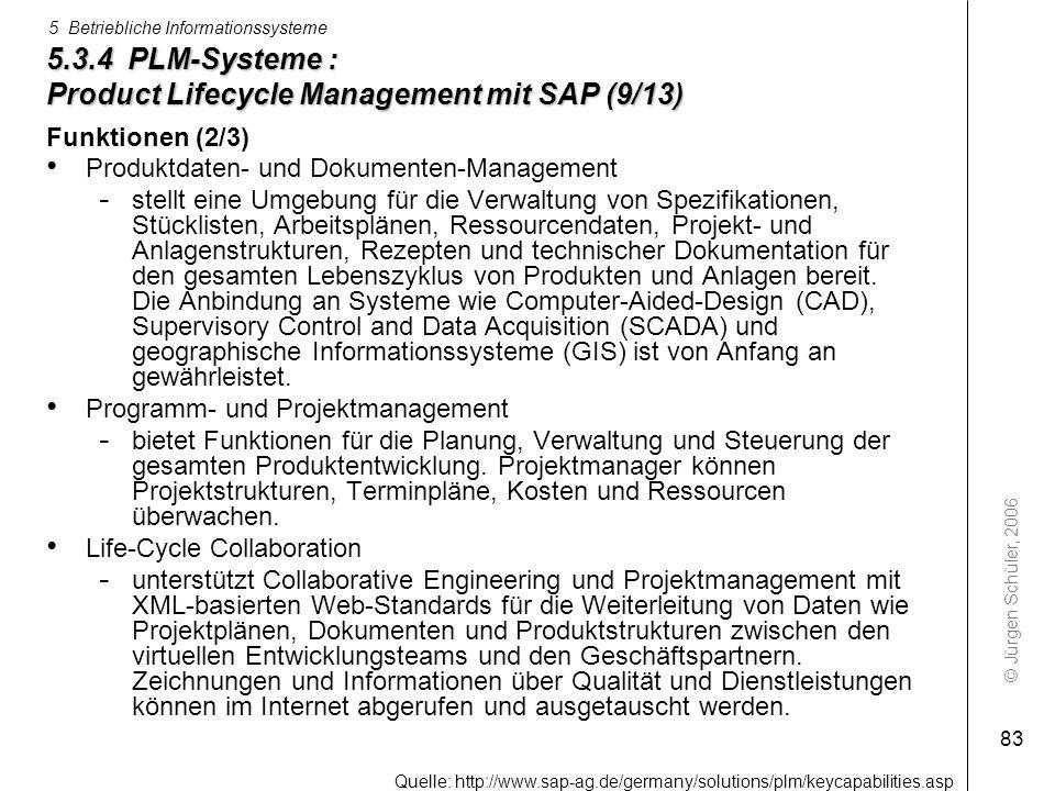 © Jürgen Schüler, 2006 5 Betriebliche Informationssysteme 83 5.3.4 PLM-Systeme : Product Lifecycle Management mit SAP (9/13) Funktionen (2/3) Produktd