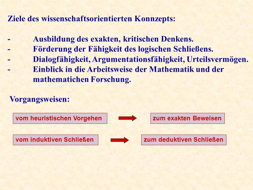 Ziele des wissenschaftsorientierten Konnzepts: -Ausbildung des exakten, kritischen Denkens.