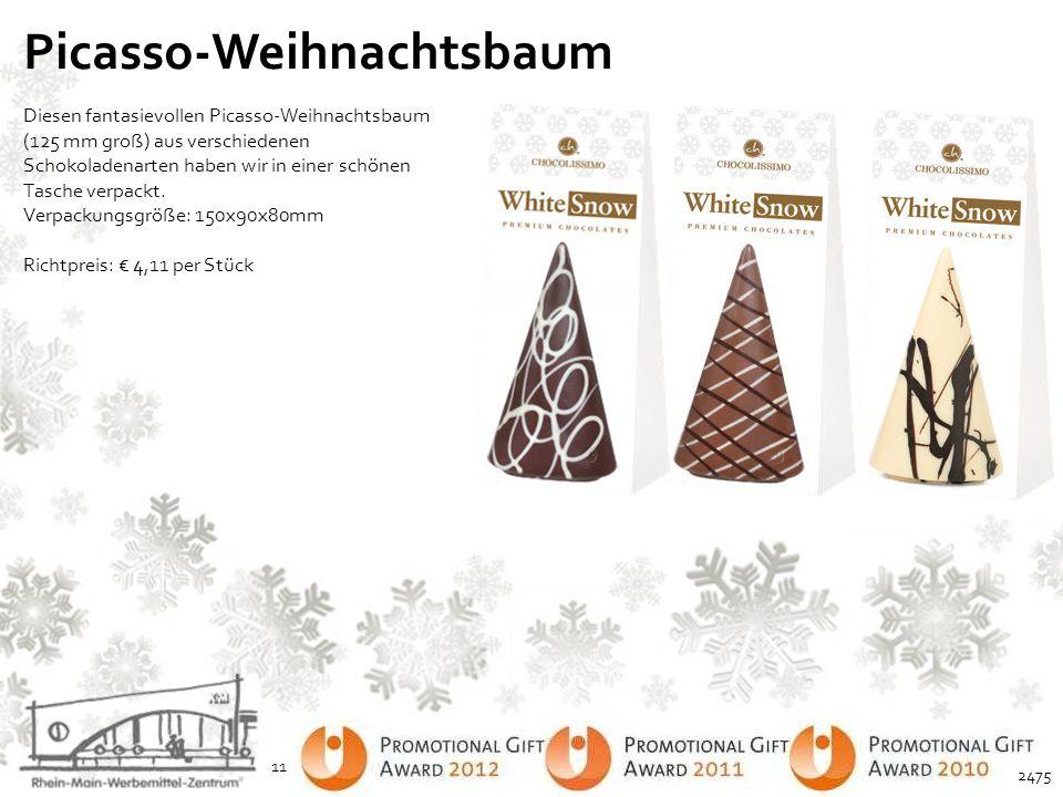 Picasso-Weihnachtsbaum Diesen fantasievollen Picasso-Weihnachtsbaum (125 mm groß) aus verschiedenen Schokoladenarten haben wir in einer schönen Tasche