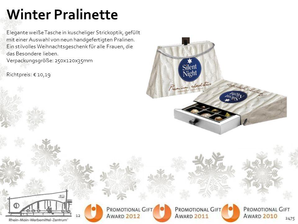 Winter Pralinette Elegante weiße Tasche in kuscheliger Strickoptik, gefüllt mit einer Auswahl von neun handgefertigten Pralinen. Ein stilvolles Weihna