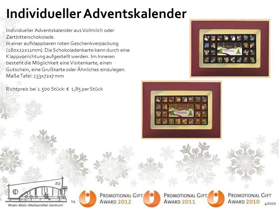 Individueller Adventskalender Individueller Adventskalender aus Vollmilch oder Zartbitterschokolade. In einer aufklappbaren roten Geschenkverpackung (
