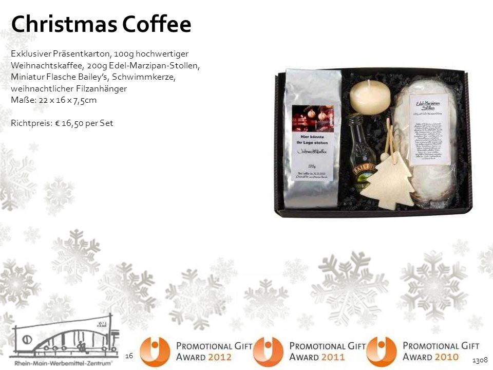 Christmas Coffee Exklusiver Präsentkarton, 100g hochwertiger Weihnachtskaffee, 200g Edel-Marzipan-Stollen, Miniatur Flasche Bailey's, Schwimmkerze, we
