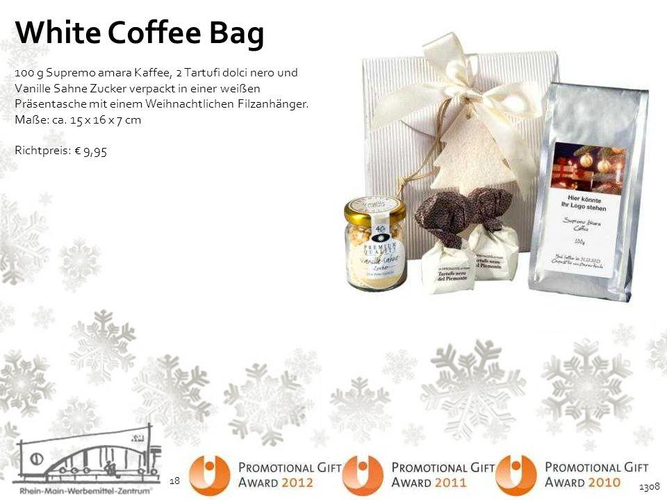 White Coffee Bag 100 g Supremo amara Kaffee, 2 Tartufi dolci nero und Vanille Sahne Zucker verpackt in einer weißen Präsentasche mit einem Weihnachtli