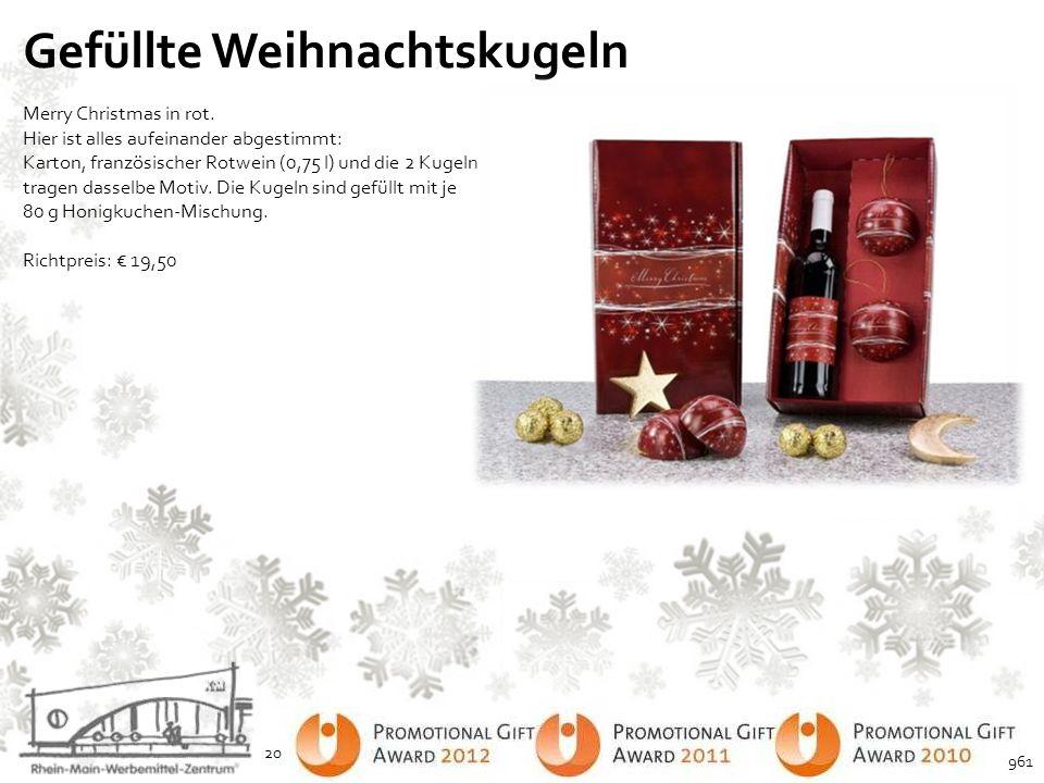 Gefüllte Weihnachtskugeln Merry Christmas in rot. Hier ist alles aufeinander abgestimmt: Karton, französischer Rotwein (0,75 l) und die 2 Kugeln trage