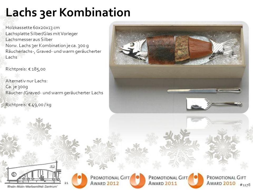 Lachs 3er Kombination Holzkassette 60x20x13 cm Lachsplatte Silber/Glas mit Vorleger Lachsmesser aus Silber Norw. Lachs 3er Kombination je ca. 300 g Rä
