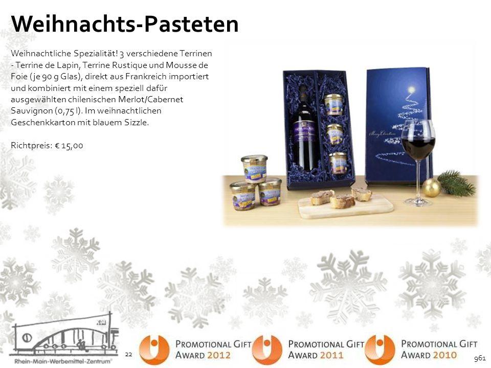 Weihnachts-Pasteten Weihnachtliche Spezialität! 3 verschiedene Terrinen - Terrine de Lapin, Terrine Rustique und Mousse de Foie (je 90 g Glas), direkt