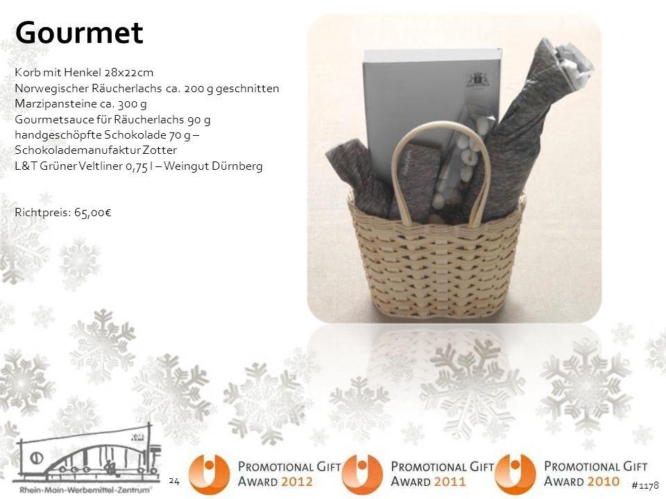 Gourmet Korb mit Henkel 28x22cm Norwegischer Räucherlachs ca. 200 g geschnitten Marzipansteine ca. 300 g Gourmetsauce für Räucherlachs 90 g handgeschö