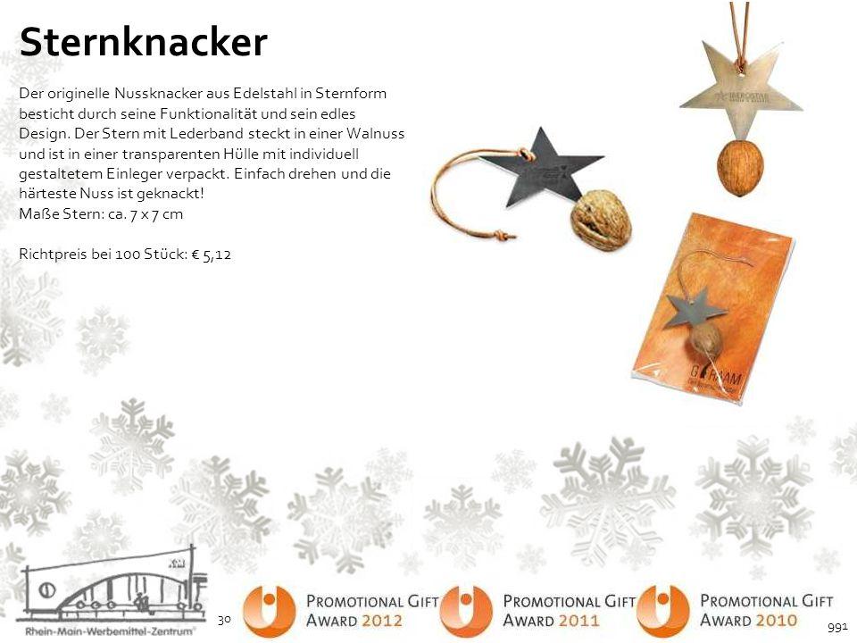 Sternknacker Der originelle Nussknacker aus Edelstahl in Sternform besticht durch seine Funktionalität und sein edles Design. Der Stern mit Lederband