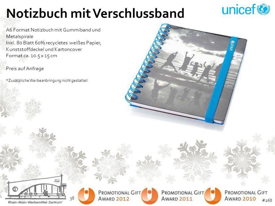 Notizbuch mit Verschlussband A6 Format Notizbuch mit Gummiband und Metalspirale Inkl. 80 Blatt 60% recycletes weißes Papier, Kunststoffdeckel und Kart